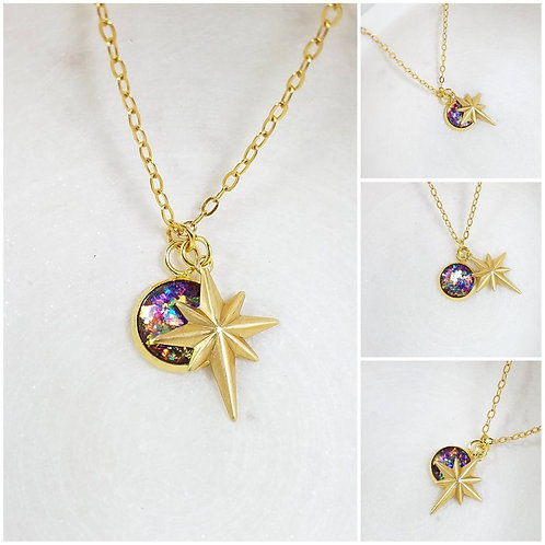 Memorial Ash Round Brass Star Charm Pendant Necklace/ Memorial Jewelry/ Ash Neck