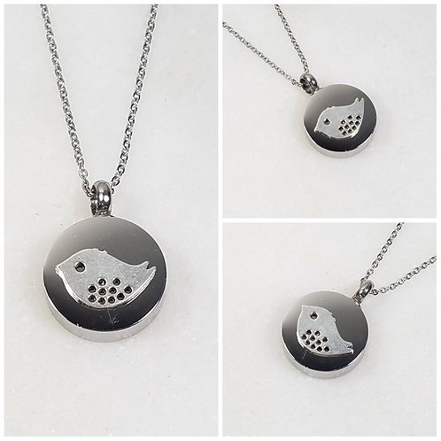 Memorial Ash Stainless Steel Cremation Round Bird Chick Urn Necklace/Cremation P
