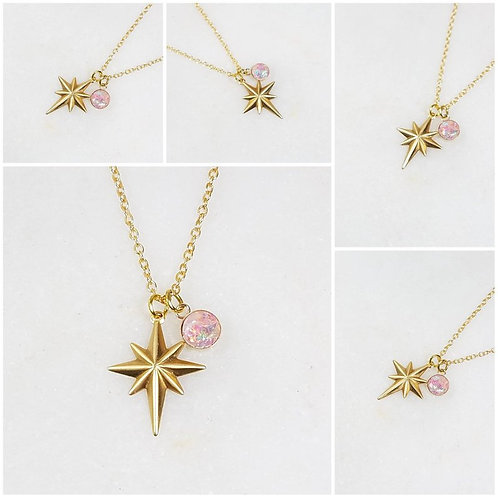 Memorial Ash Round Gold and Brass Northstar Charm Pendant Necklace/ Memorial Jew