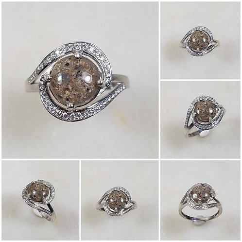 Sterling Silver Cubic Zirconia Memorial Cremation Jewelry/ Ash Memorial Ring/Pet