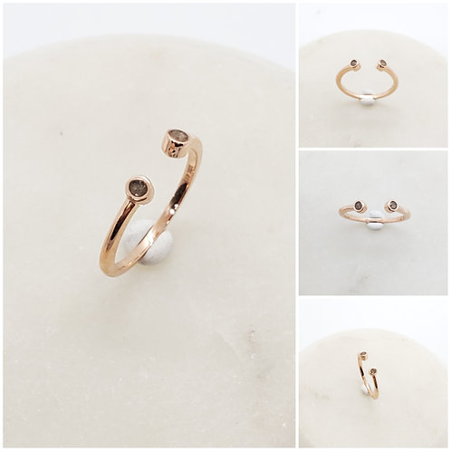 Cremation Memorial Ash Double Minimalist CZ Bezel Ring