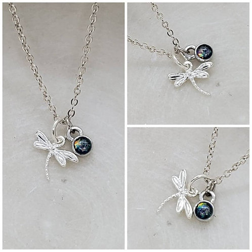 Memorial Ash Sterling Silver Dragonfly Sterling Silver Charm Pendant Necklace