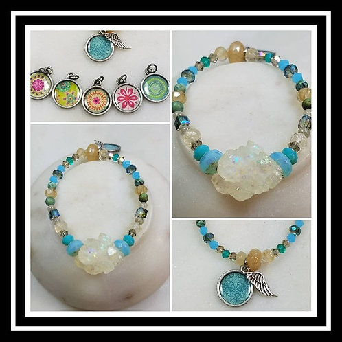 Memorial Ash Crystal Glass Beaded Bracelet/Cremation Charm Bracelet/Pet Memorial