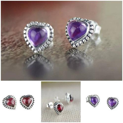 Studiodragonfly19  Heart Amethyst or Garnet Sterling Silver Earrings