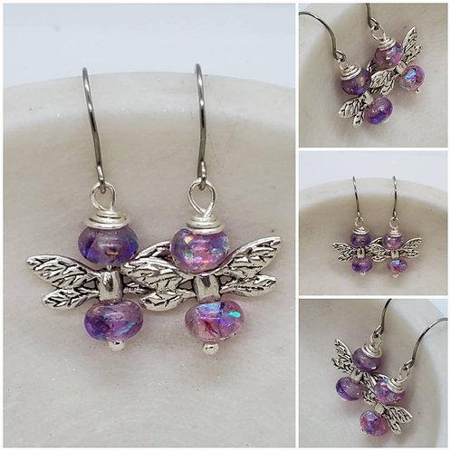 Cremation Memorial Ash Angel Wings Earrings/Memorial Earrings/Pet Memorial