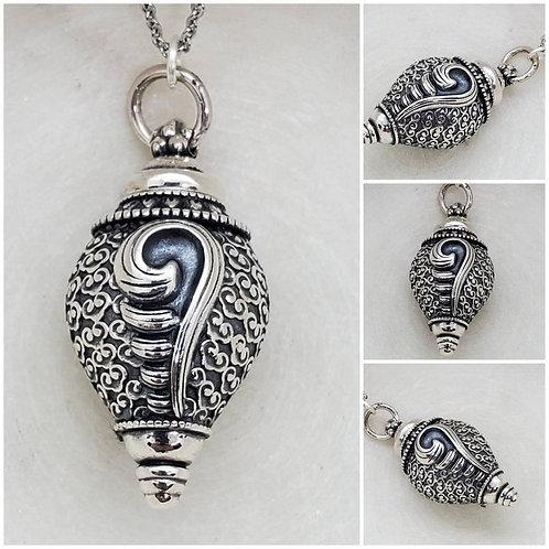 Memorial Ash Sterling Silver Spiral Cremation Urn Bottle Necklace/Cremation Urn