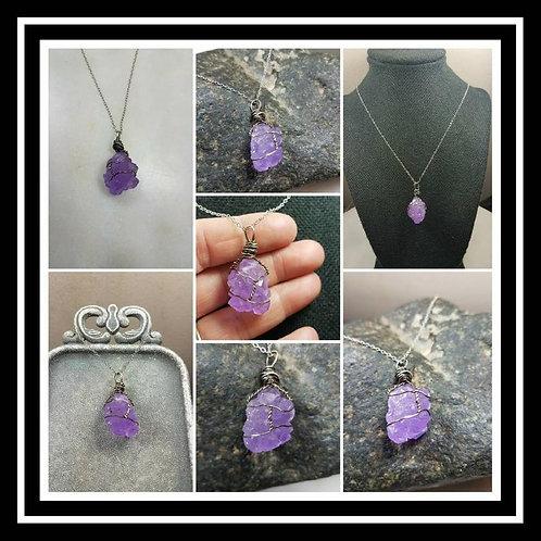 Memorial Ash Wire Wrapped Crystal Pendant Necklace/Cremation Pendant/Pet Memoria