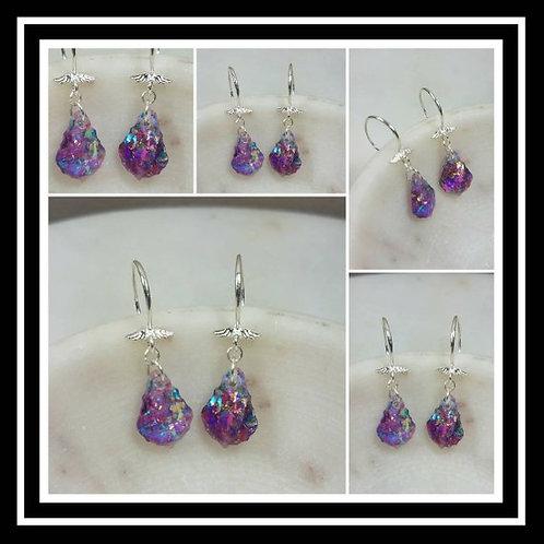 Sterling Silver Memorial Ash Angel Wing Crystal Earrings