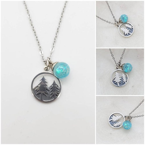 Memorial Ash Sterling Silver Pine Tree Glass Sphere Pendant Necklace
