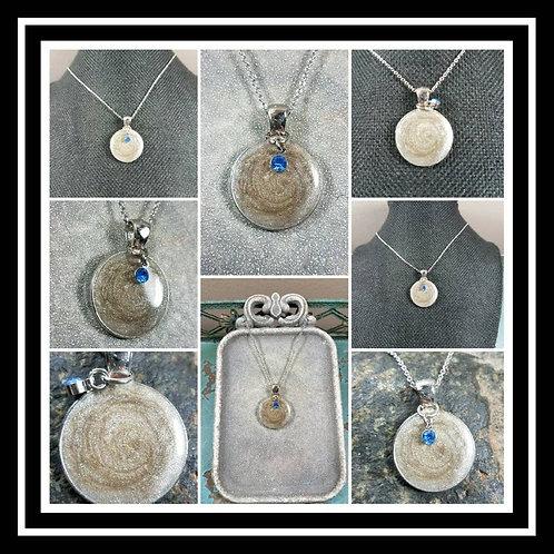 Memorial Swirl Ash Pendant Charm Memorial Jewelry/ Ash Necklace/Pet Memorial/ Cr