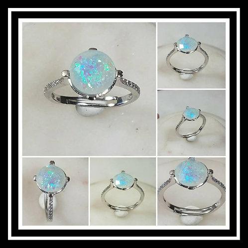 Sterling Silver Cubic Zirconia Memorial Stone Ring/Memorial Ash Jewelry/Pet