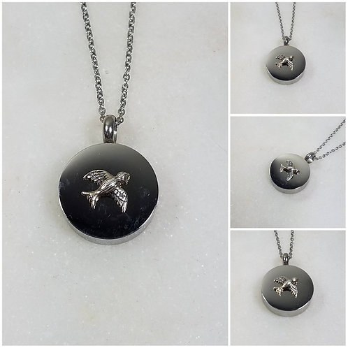 Memorial Ash Stainless Steel Sterling Silver Bird Cremation Urn Necklace/Cremati