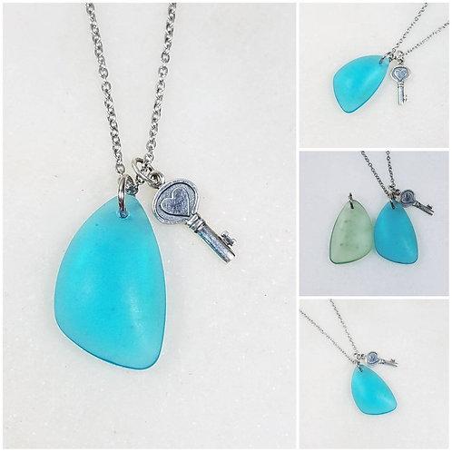 Studiodragonfly19 Memorial Ash Beach Glass Heart Key Charm Pendant Necklace/Crem