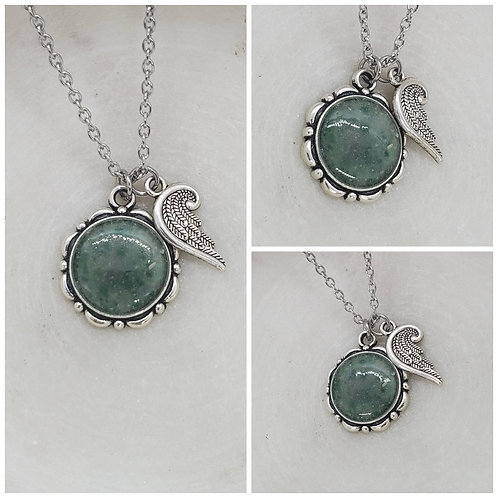 Memorial Ash Silver Plated Turquoise Angel Wing Pendant Necklace