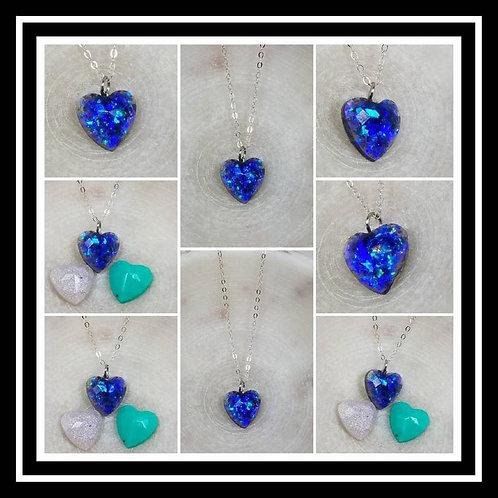Memorial Ash Faceted Heart Pendant Pendant Necklace/Cremation Memorial Jewelry/P
