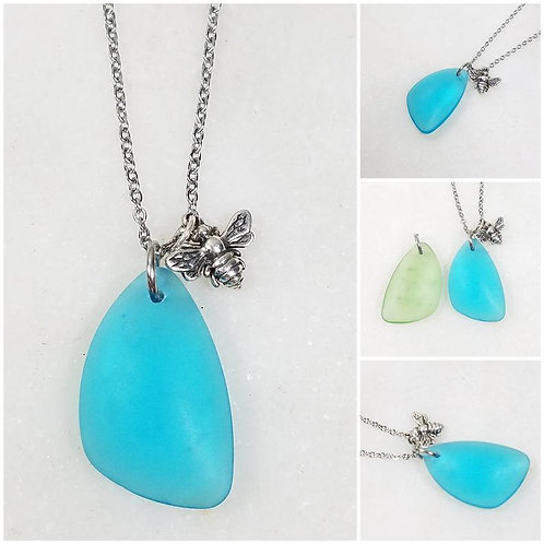 Studiodragonfly19 Memorial Ash Beach Glass Bee Charm Pendant Necklace/Cremation
