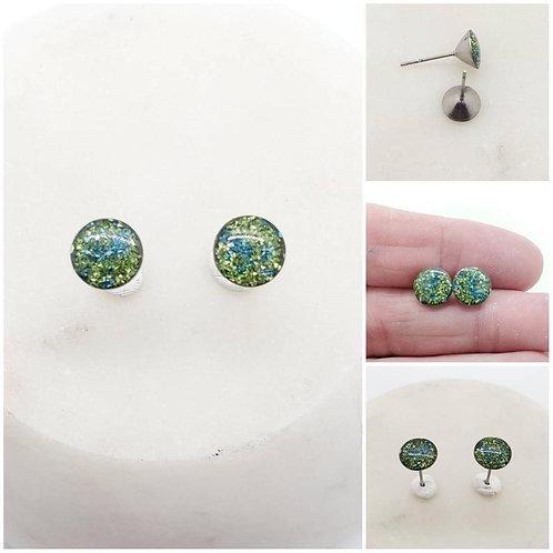 Memorial Ash Stainless Steel Round Tappered Earrings/Memorial Earrings/Pet