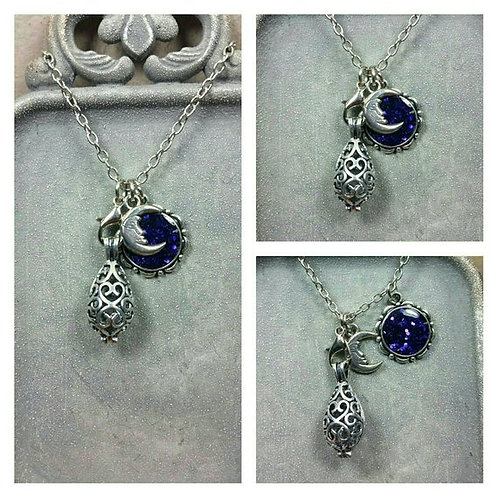 Memorial Ash Charm Moon Locket/Cremation Necklace