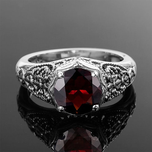 Memorial Ash Cremation Garnet Oval Sterling Silver Ring