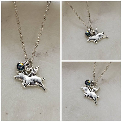 Memorial Ash Cremation Flying Angel Wing Pig Pendant Sterling Silver Charm