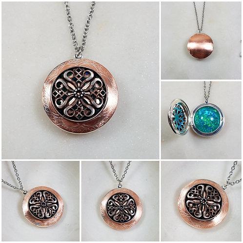 Brushed Copper Memorial Ash Celtic Locket Pendant Necklace/Cremation Pendant/Pet