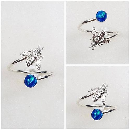 Memorial Ash Sterling Silver Bee Wrap Ring /Memorial Ash Cremation Ring/Pet Memo