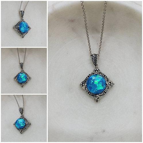 Memorial Ash Sterling Silver Ornate Pendant Necklace/Cremation Pendant/Pet Memo