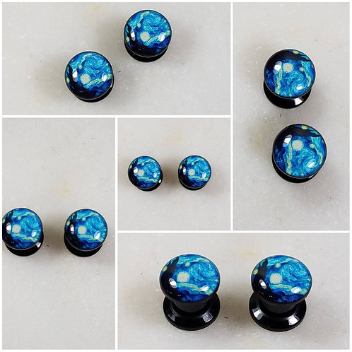Cremation Memorial Ash Stormy Night Tunnle Ear Plugs Piercing/Memorial Jewelry/P