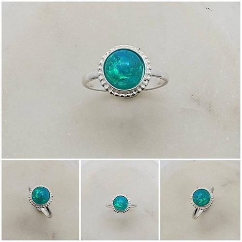 Memorial Ash Sterling Silver Beaded Ring/Memorial Ring/ Memorial/Cremation Ring