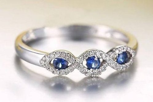 Studiodragonfly19  14k White Gold,Yellow or Rose Diamond&Sapphire Ring Band