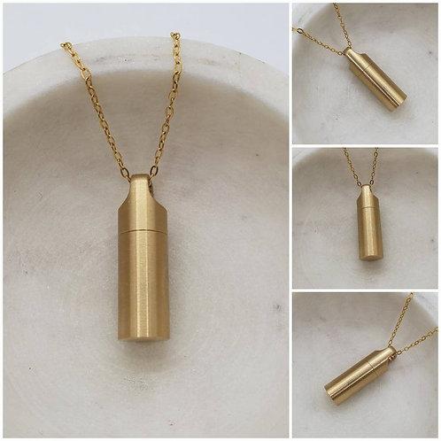 Memorial Ash Brass Urn Necklace/ Pendant/Cremation Necklace
