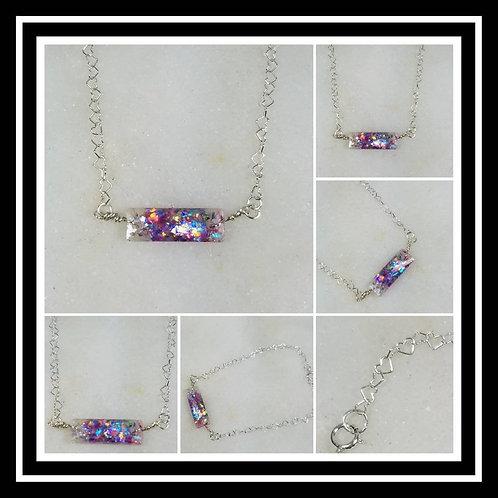 Memorial Ash Cremation Baguette Sterling Silver Heart Bracelet/Cremation Bracele