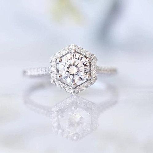Studiodragonfly19 Memorial Ash Gold Hexagon Moissanite Ring/Memorial Ash Jewelry