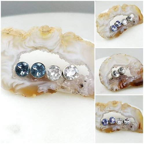 Studiodragonfly19 Gem Stone Swarovski Crystal Stainless Steel Earrings