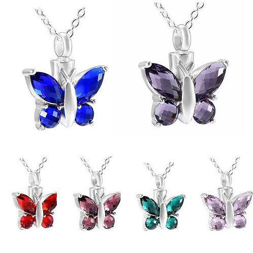Memorial Ash Stainless Steel Cremation Butterfly Urn Necklace/Birthstone Pendant