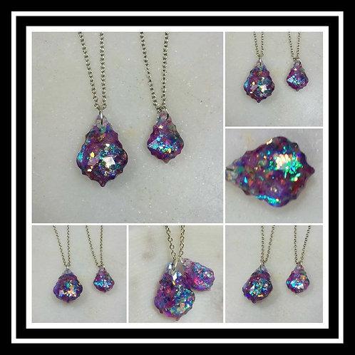 Memorial Ash Faceted Crystal Pendant Necklace/Cremation Memorial Necklace/Pet Me