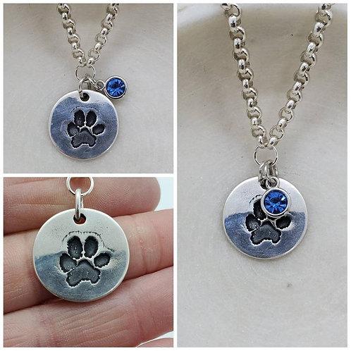 Pure Silver Custom Dog Paw Birthstone Charm Pendant Necklace/Memorial Pendant
