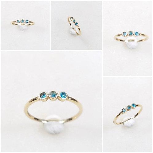 Studiodragonfly19 Memorial Ash 10k Yellow,Rose,White Gold Aquamarine Ring Cremat