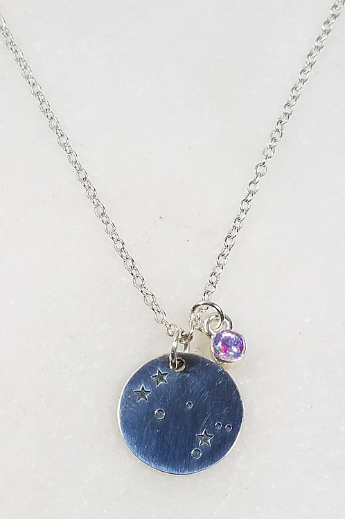 Memorial Ash Constellation Necklace/Cremation Sterling Silver Constellation Pend