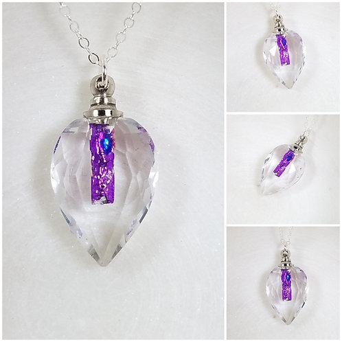 Faceted Glass Tear Drop Bottle Memorial Ash Pendant Necklace