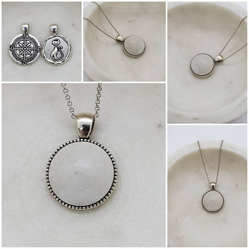 Memorial Ash Concrete Stone Kitty Compass Necklace/Cremation Necklace
