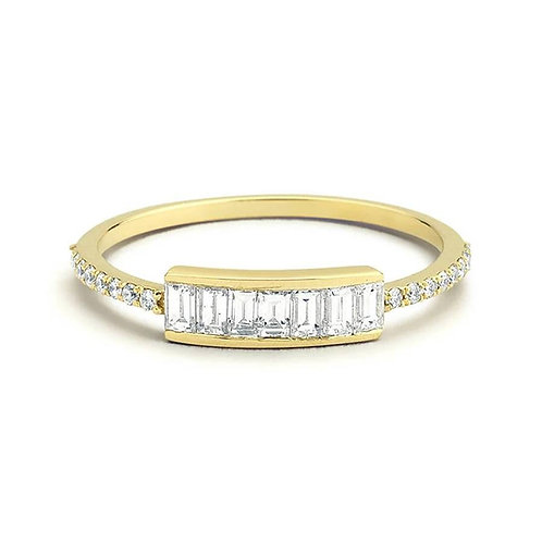 Memorial Ash Minimalist Gold Sterling Silver Diamond CZ Baguette Ring