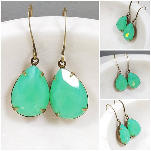 Studiodragonfly19 Cremation Vintage Drop Green Opal Crystal Czech Stone Earrings