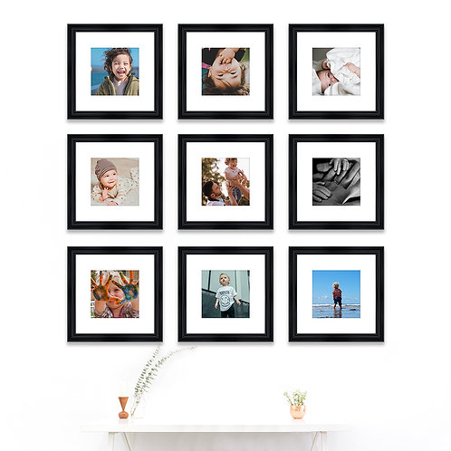 Pure Wood Gallery Wall - Set of 9 Custom Prints & Frames