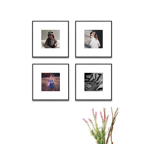 Metal Gallery Wall - Set of 4 Custom Prints & Frames
