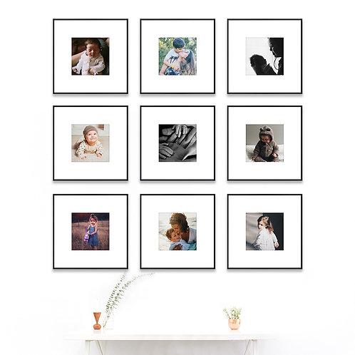 Metal Gallery Wall - Set of 9 Custom Prints & Frames