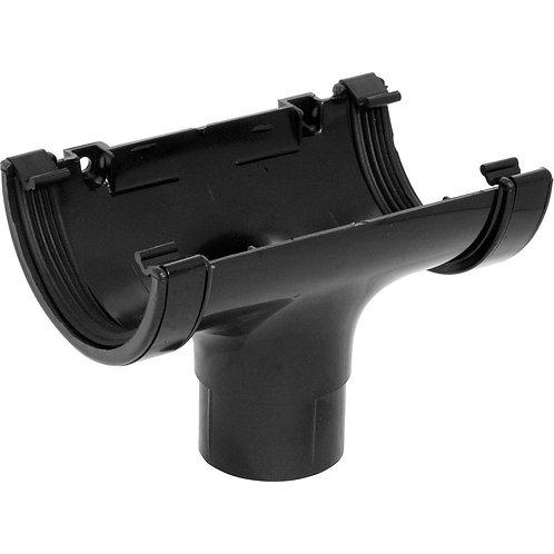 112mm Half Round Running Outlet Black