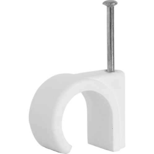 Cable Clip Round - White 8mm