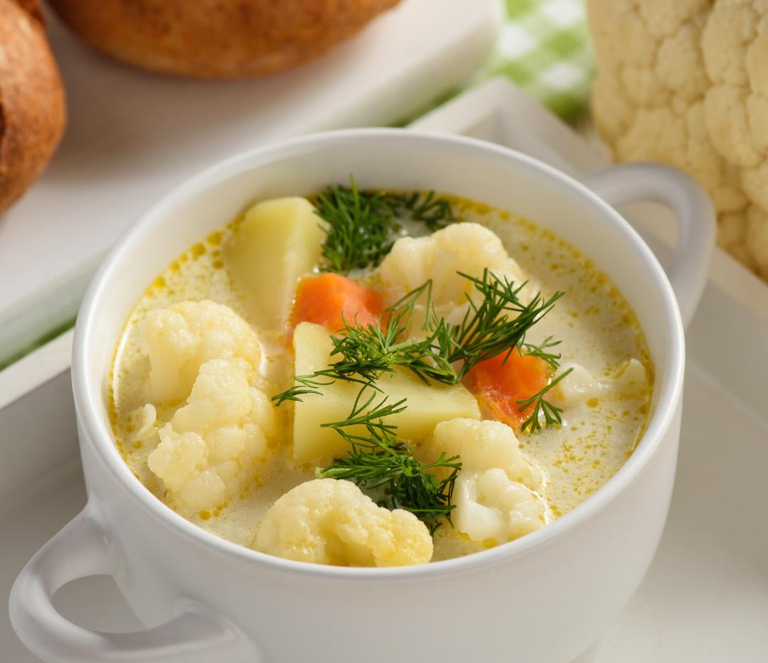 Cauliflower Potato Soup with Veggie Chun