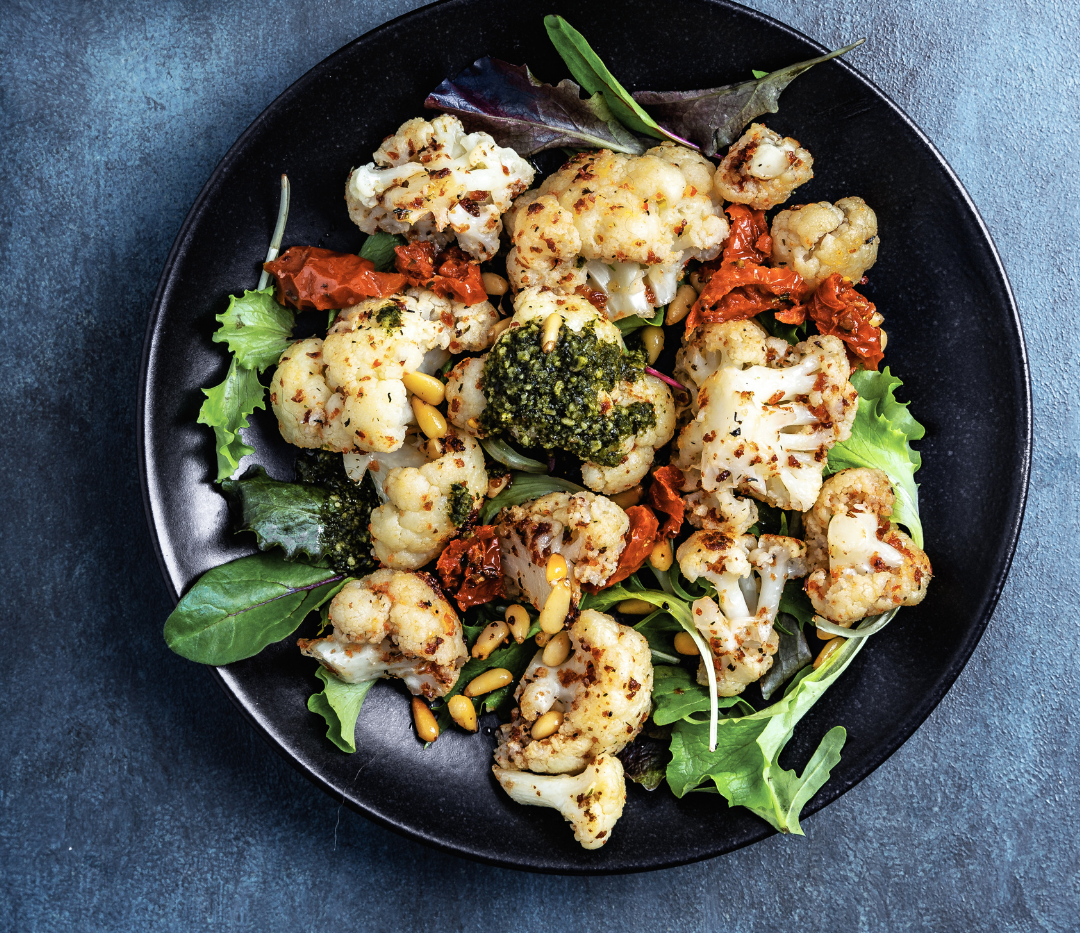 Roasted Cauliflower with Spinach and Pom
